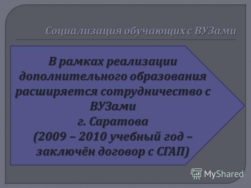 В рамках реализации дополнительного образования расширяется сотрудничество с ВУЗами г. Саратова (2009 – 2010 учебный год – заключён договор с СГАП )