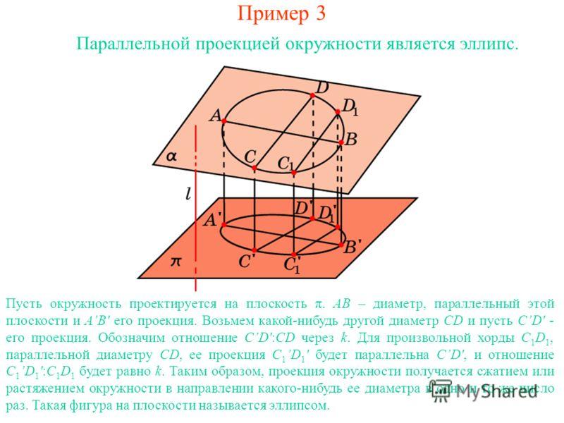 Пример 3 Параллельной проекцией окружности является эллипс. Пусть окружность проектируется на плоскость π. AB – диаметр, параллельный этой плоскости и AB' его проекция. Возьмем какой-нибудь другой диаметр CD и пусть CD' - его проекция. Обозначим отно
