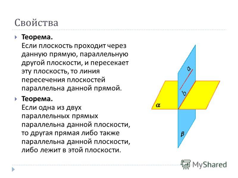 Свойства Теорема. Если плоскость проходит через данную прямую, параллельную другой плоскости, и пересекает эту плоскость, то линия пересечения плоскостей параллельна данной прямой. Теорема. Если одна из двух параллельных прямых параллельна данной пло
