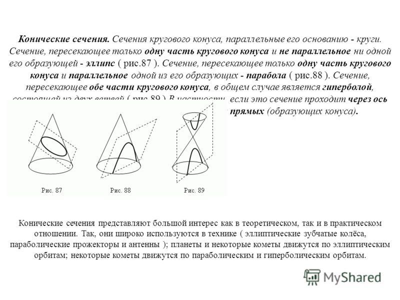 Конические сечения. Сечения кругового конуса, параллельные его основанию - круги. Сечение, пересекающее только одну часть кругового конуса и не параллельное ни одной его образующей - эллипс ( рис.87 ). Сечение, пересекающее только одну часть круговог
