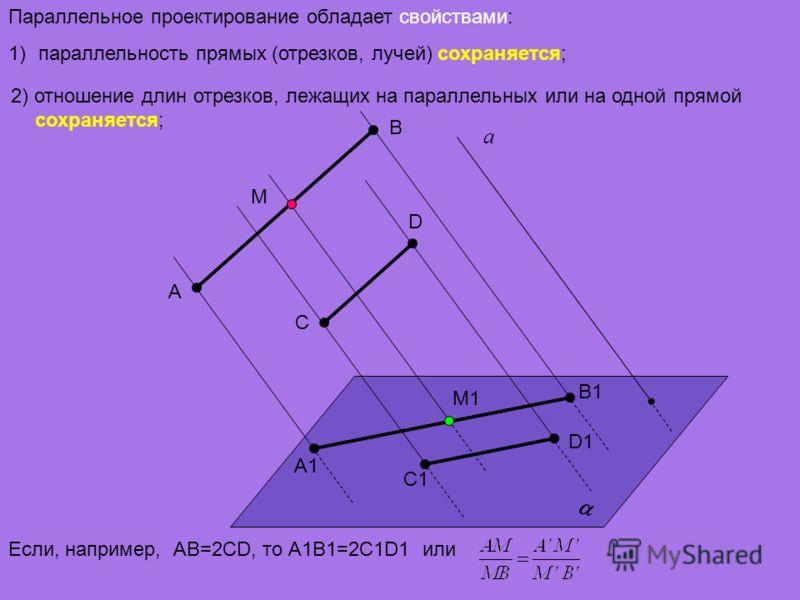 2) отношение длин отрезков, лежащих на параллельных или на одной прямой сохраняется; Параллельное проектирование обладает свойствами: 1)параллельность прямых (отрезков, лучей) сохраняется; а A D C B A1 D1 C1 B1 Если, например, АВ=2CD, то А1В1=2C1D1 и