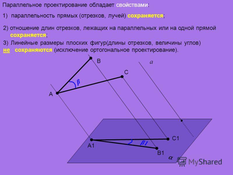 Параллельное проектирование обладает свойствами: 1)параллельность прямых (отрезков, лучей) сохраняется; а A B A1 B1 3) Линейные размеры плоских фигур(длины отрезков, величины углов) не сохраняются (исключение ортогональное проектирование). 2) отношен