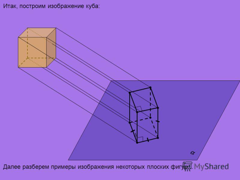 Итак, построим изображение куба: Далее разберем примеры изображения некоторых плоских фигур…