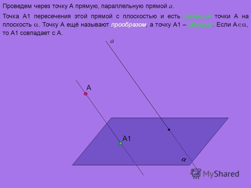 А а Проведем через точку А прямую, параллельную прямой а. А1 Точка А1 пересечения этой прямой с плоскостью и есть проекция точки А на плоскость. Точку А ещё называют прообразом, а точку А1 – образом. Если А, то А1 совпадает с А.