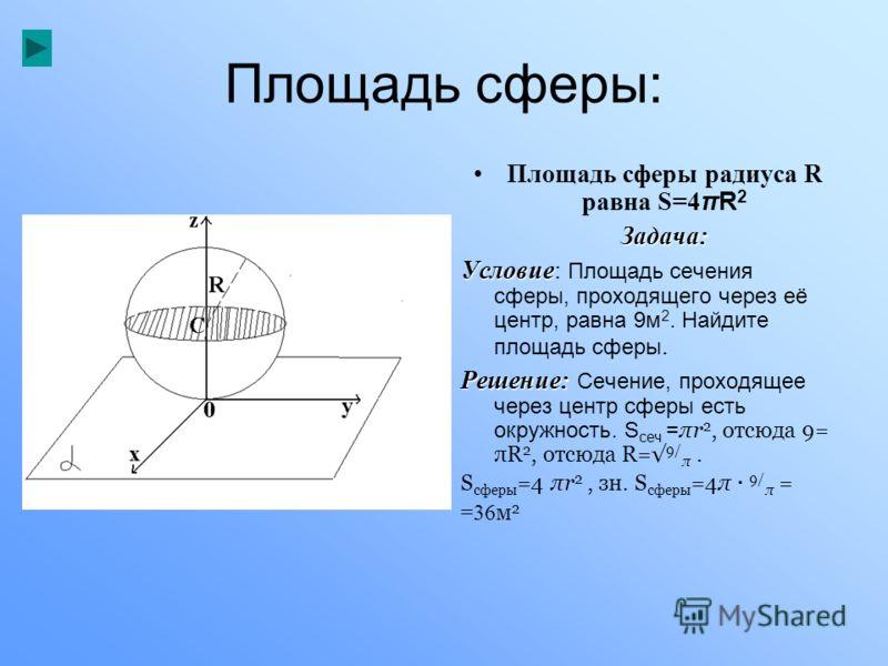 Площадь сферы: Площадь сферы радиуса R равна S=4 πR 2Задача: Условие Условие: Площадь сечения сферы, проходящего через её центр, равна 9м 2. Найдите площадь сферы. Решение: Решение: Сечение, проходящее через центр сферы есть окружность. S сеч = πr 2,