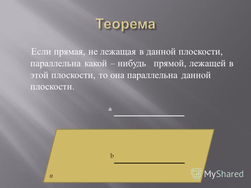 Если прямая, не лежащая в данной плоскости, параллельна какой – нибудь прямой, лежащей в этой плоскости, то она параллельна данной плоскости. a b α