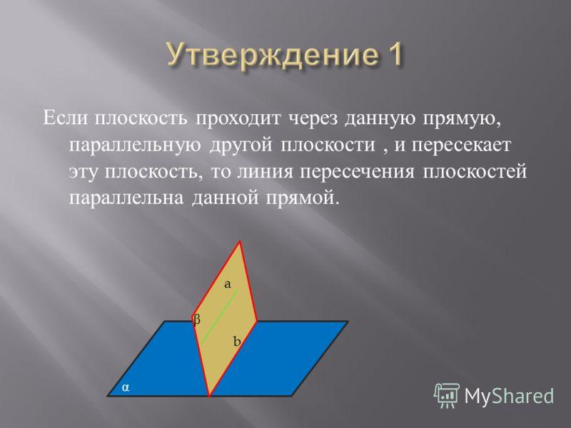 Если плоскость проходит через данную прямую, параллельную другой плоскости, и пересекает эту плоскость, то линия пересечения плоскостей параллельна данной прямой. a α b β