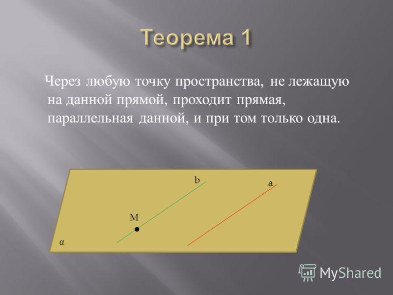 Через любую точку пространства, не лежащую на данной прямой, проходит прямая, параллельная данной, и при том только одна. М a b α