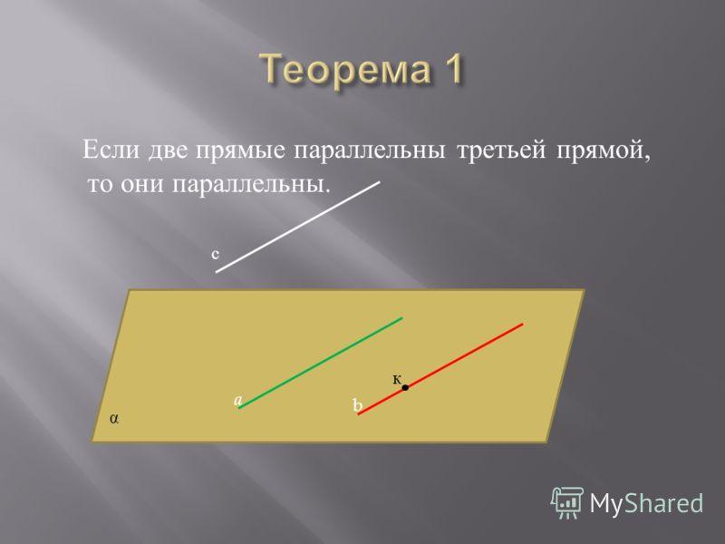 Если две прямые параллельны третьей прямой, то они параллельны. a b α с к
