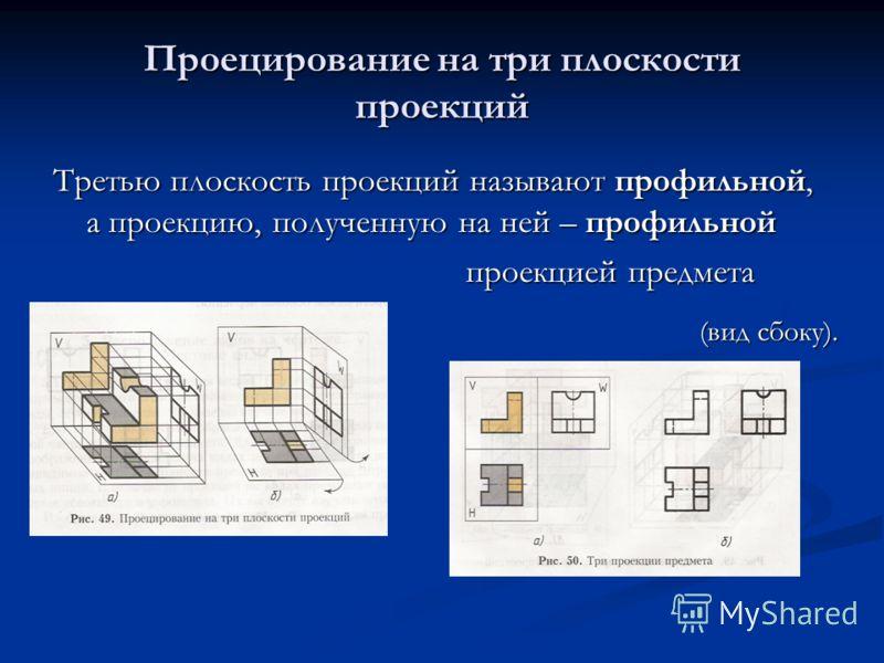 Проецирование на три плоскости проекций Третью плоскость проекций называют профильной, а проекцию, полученную на ней – профильной проекцией предмета проекцией предмета (вид сбоку).
