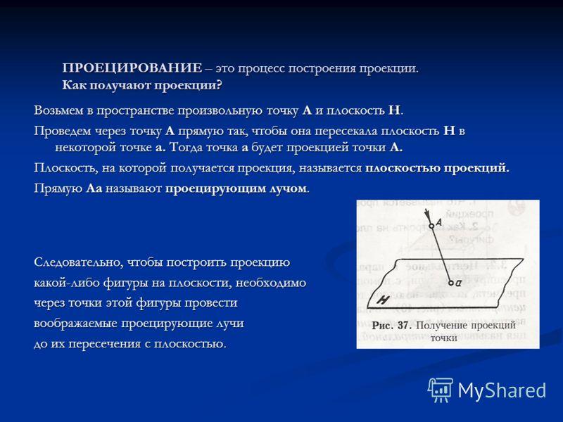 ПРОЕЦИРОВАНИЕ – это процесс построения проекции. Как получают проекции? ПРОЕЦИРОВАНИЕ – это процесс построения проекции. Как получают проекции? Возьмем в пространстве произвольную точку А и плоскость Н. Проведем через точку А прямую так, чтобы она пе