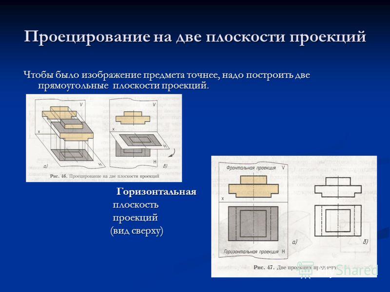 Проецирование на две плоскости проекций Чтобы было изображение предмета точнее, надо построить две прямоугольные плоскости проекций. Горизонтальная Горизонтальная плоскость плоскость проекций проекций (вид сверху) (вид сверху)