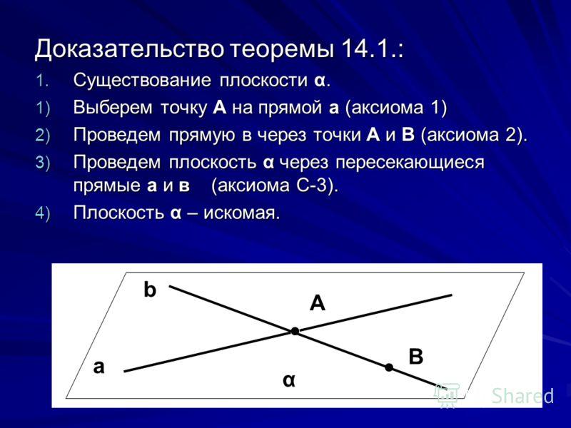 Доказательство теоремы 14.1.: 1. Существование плоскости α. 1) Выберем точку А на прямой а (аксиома 1) 2) Проведем прямую в через точки А и В (аксиома 2). 3) Проведем плоскость α через пересекающиеся прямые а и в (аксиома С-3). 4) Плоскость α – иском