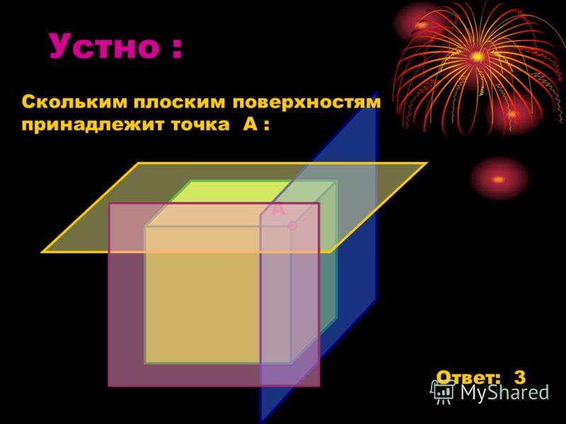 Устно : А Ответ: 3 Скольким плоским поверхностям принадлежит точка А :