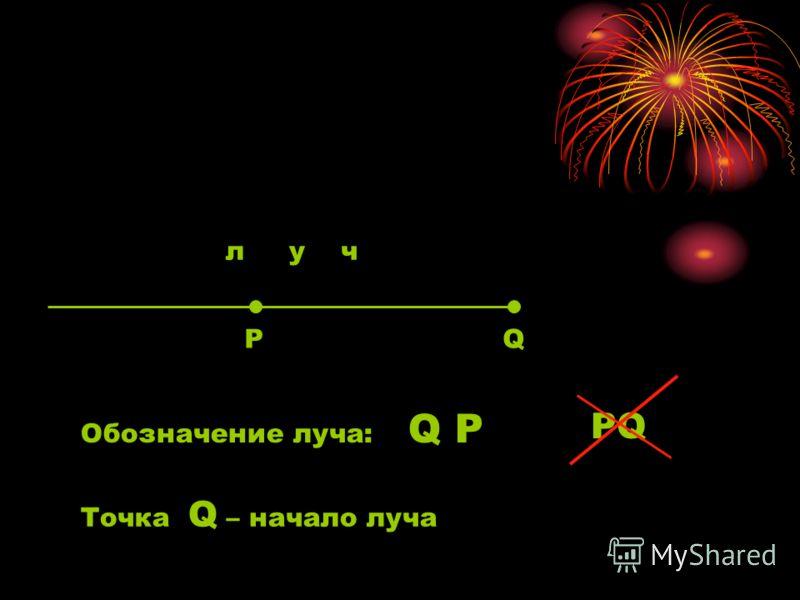 РQ Обозначение луча: Q P PQ Точка Q – начало луча л у ч
