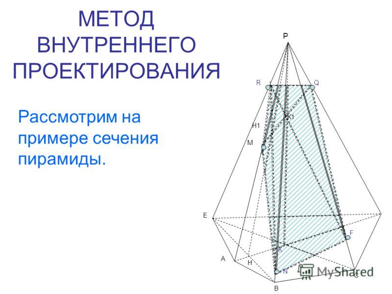 МЕТОД ВНУТРЕННЕГО ПРОЕКТИРОВАНИЯ Р Е А В С К К1 М Н Н1 RQ F N Рассмотрим на примере сечения пирамиды.