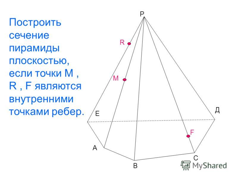 Е Р А В С М R F Д Построить сечение пирамиды плоскостью, если точки М, R, F являются внутренними точками ребер.