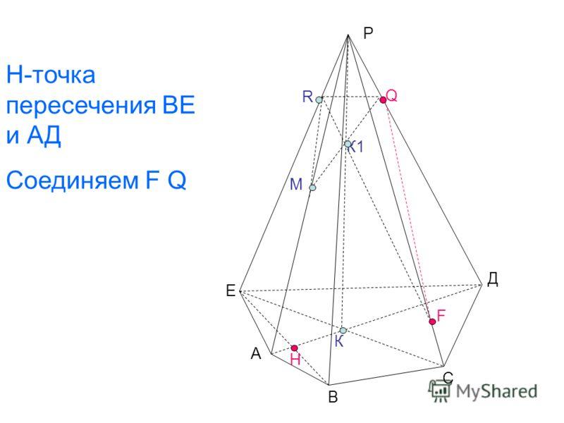 Е А В С К К1 М Н R Q F Д Н-точка пересечения ВЕ и АД Соединяем F Q Р