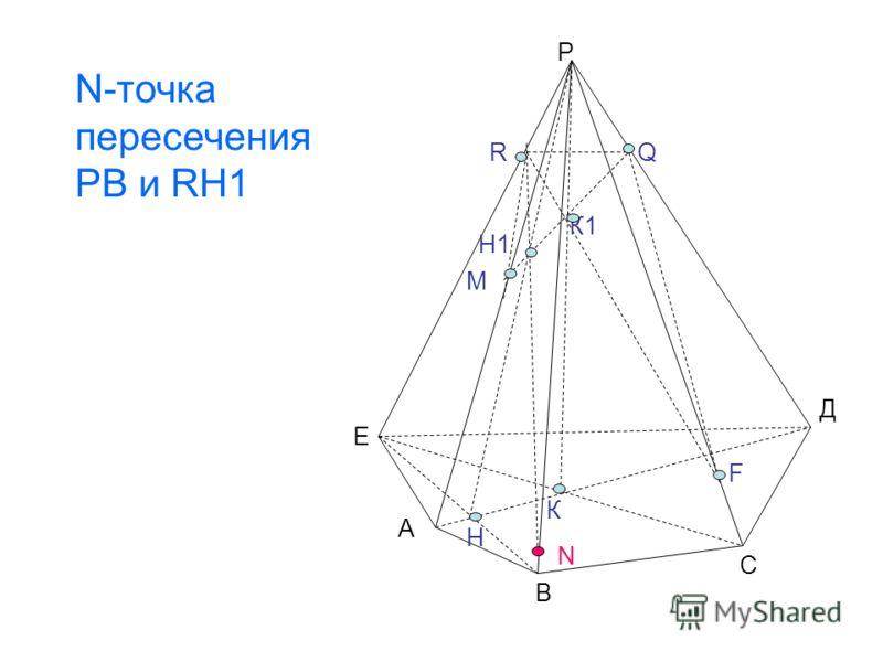 Р Е А В С К К1 М Н Н1 RQ F N Д N-точка пересечения РВ и RH1