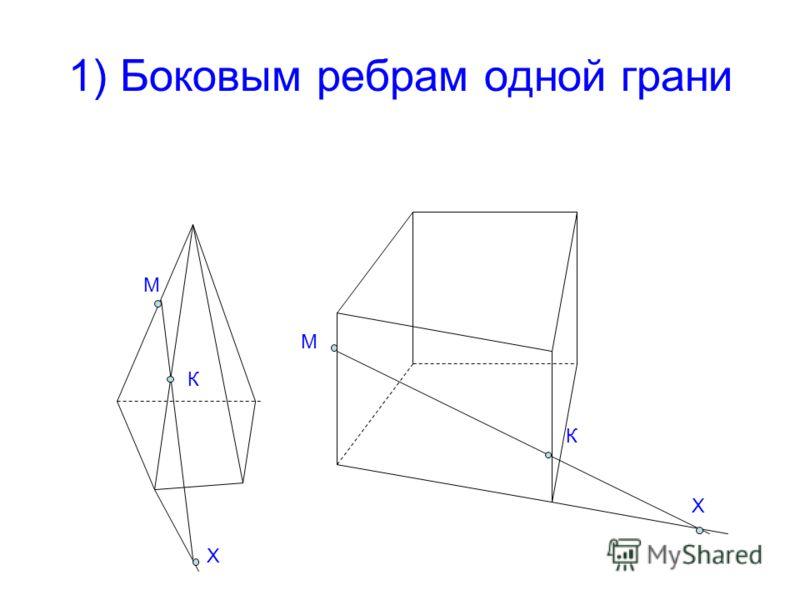 1) Боковым ребрам одной грани Х М К К Х М