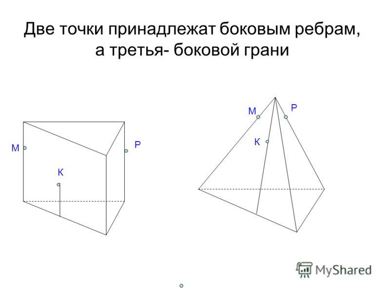 Две точки принадлежат боковым ребрам, а третья- боковой грани М К Р М Р К
