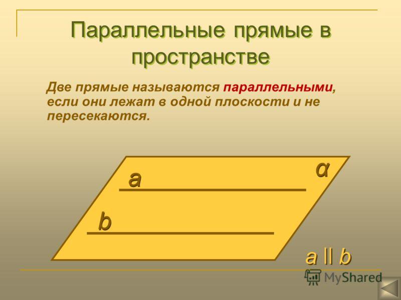 Параллельные прямые в пространстве Две прямые называются параллельными, если они лежат в одной плоскости и не пересекаются. а а b b α α а ll b