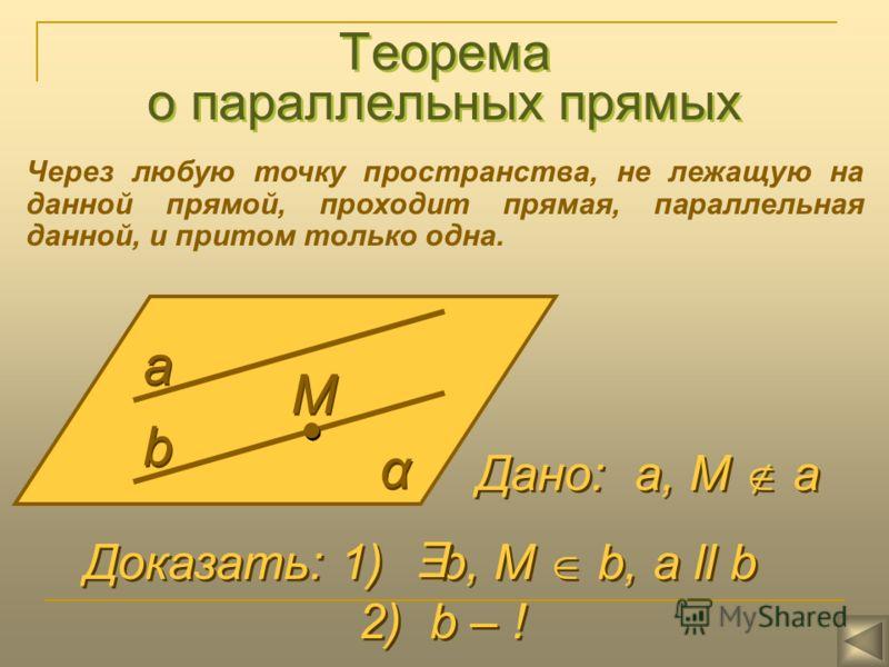 Теорема о параллельных прямых Через любую точку пространства, не лежащую на данной прямой, проходит прямая, параллельная данной, и притом только одна. а а b b α α М М Дано: а, М а Доказать: 1) b, М b, a ll b 2) b – ! Доказать: 1) b, М b, a ll b 2) b