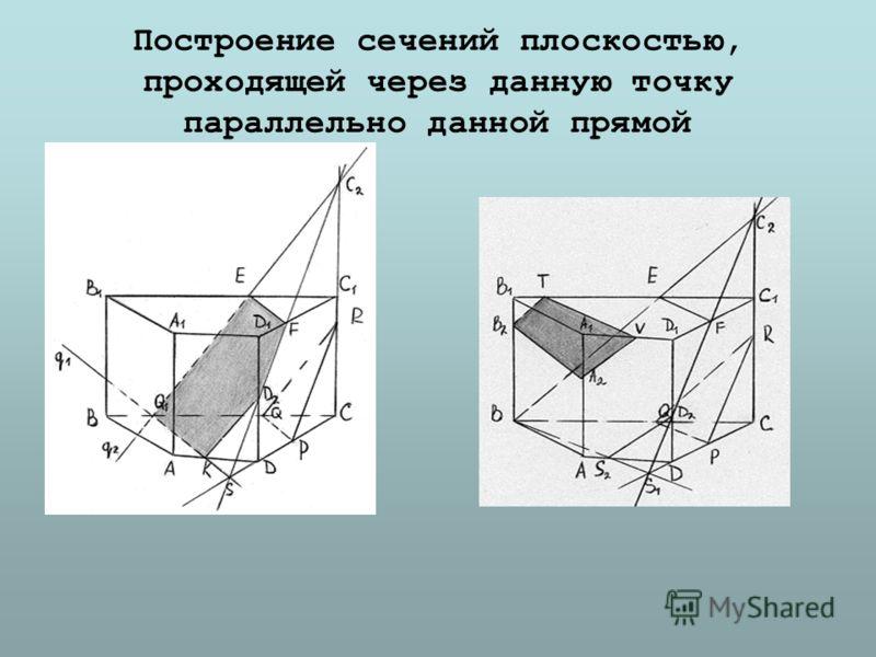 Построение сечений плоскостью, проходящей через данную точку параллельно данной прямой