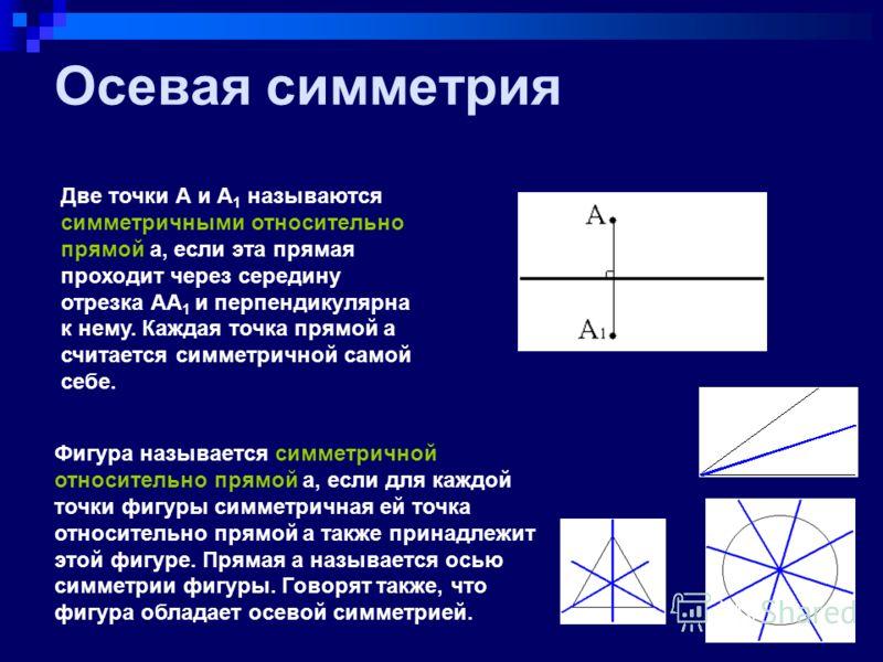 Центральная симметрия Две точки А и А1 называются симметричными относительно точки О, если О - середина отрезка АА 1. Точка О считается симметричной самой себе. Фигура называется симметричной относительно точки О, если для каждой точки фигуры симметр