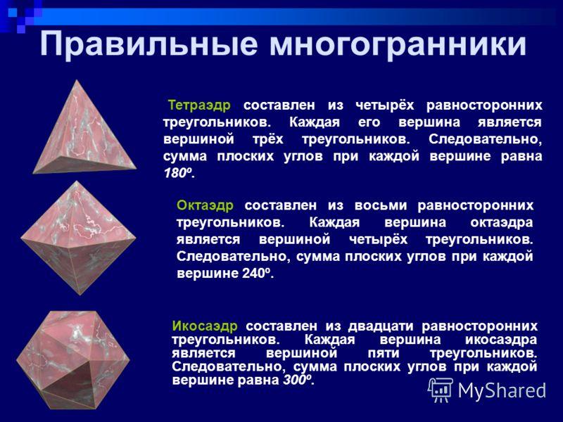 Понятие правильного многогранника Выпуклый многогранник называется правильным, если все его грани – равные правильные многоугольники и в каждой его вершине сходится одно и то же число ребер.