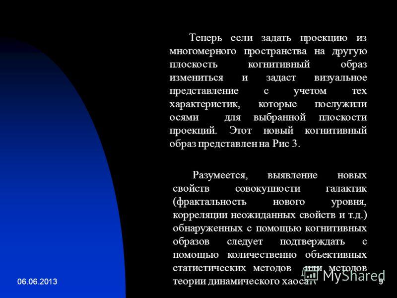 06.06.20139 Теперь если задать проекцию из многомерного пространства на другую плоскость когнитивный образ измениться и задаст визуальное представление с учетом тех характеристик, которые послужили осями для выбранной плоскости проекций. Этот новый к