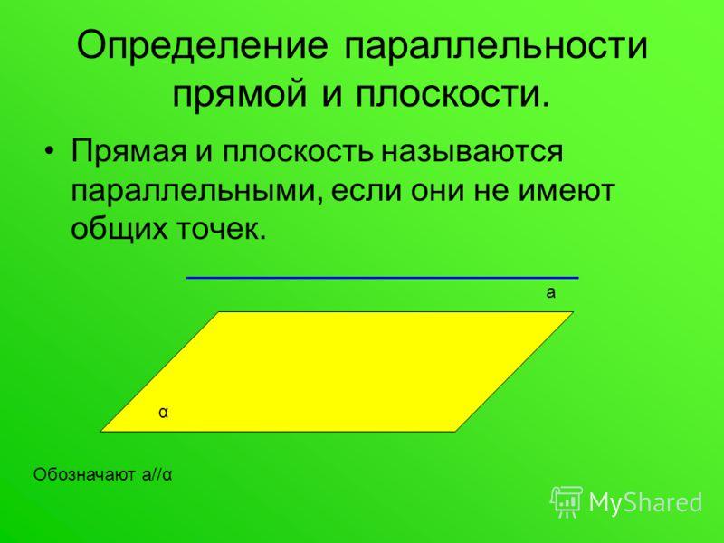 Определение параллельности прямой и плоскости. Прямая и плоскость называются параллельными, если они не имеют общих точек. α а Обозначают а//α