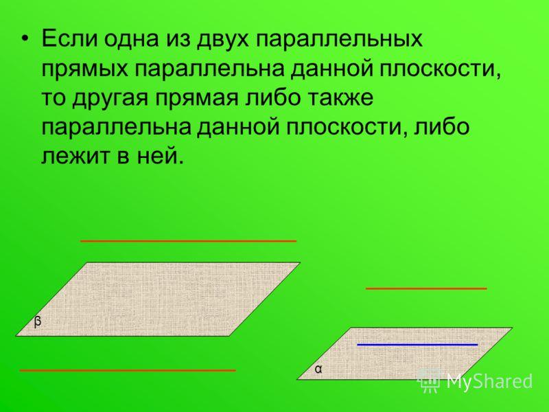 Если одна из двух параллельных прямых параллельна данной плоскости, то другая прямая либо также параллельна данной плоскости, либо лежит в ней. β α