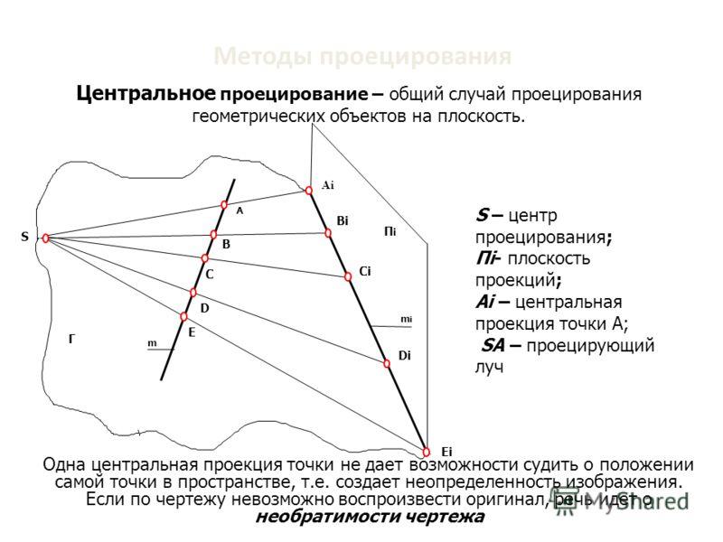 Методы проецирования Ei S Di Ci Bi ПiПi mimi А Г В С D Е m Ai S – центр проецирования; Пi- плоскость проекций; Ai – центральная проекция точки А; SА – проецирующий луч SА – проецирующий луч Одна центральная проекция точки не дает возможности судить о
