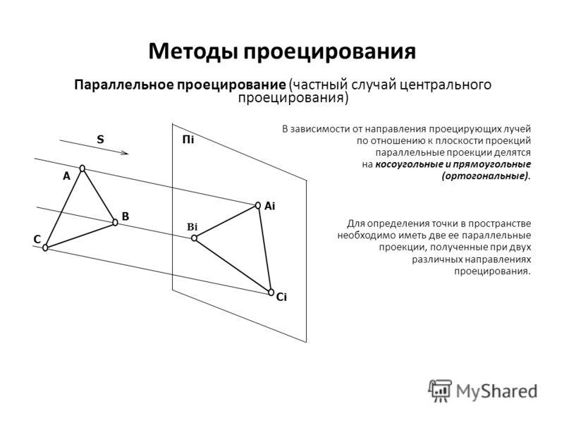 Методы проецирования Параллельное проецирование (частный случай центрального проецирования) В зависимости от направления проецирующих лучей по отношению к плоскости проекций параллельные проекции делятся на косоугольные и прямоугольные (ортогональные