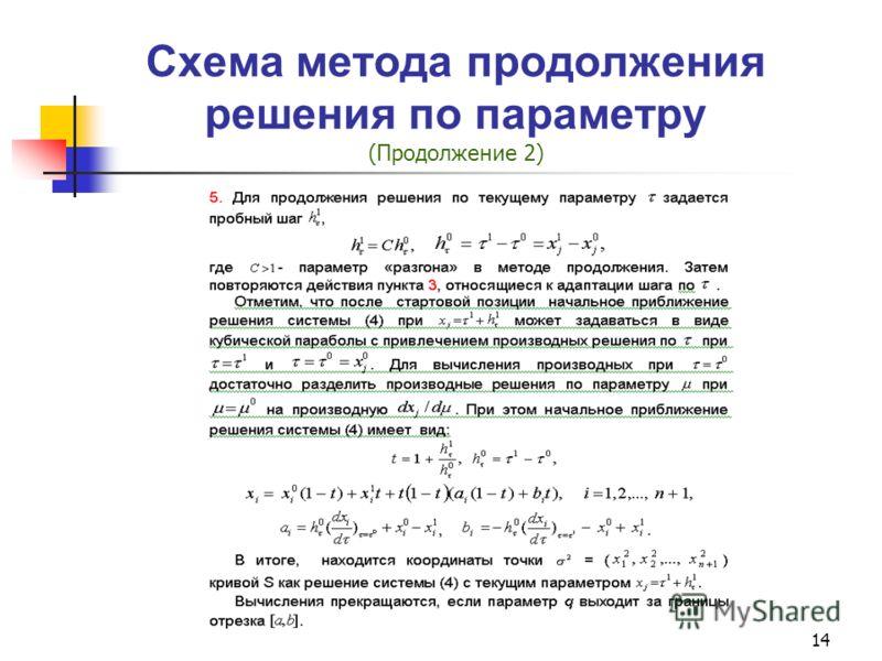 14 Схема метода продолжения решения по параметру (Продолжение 2)
