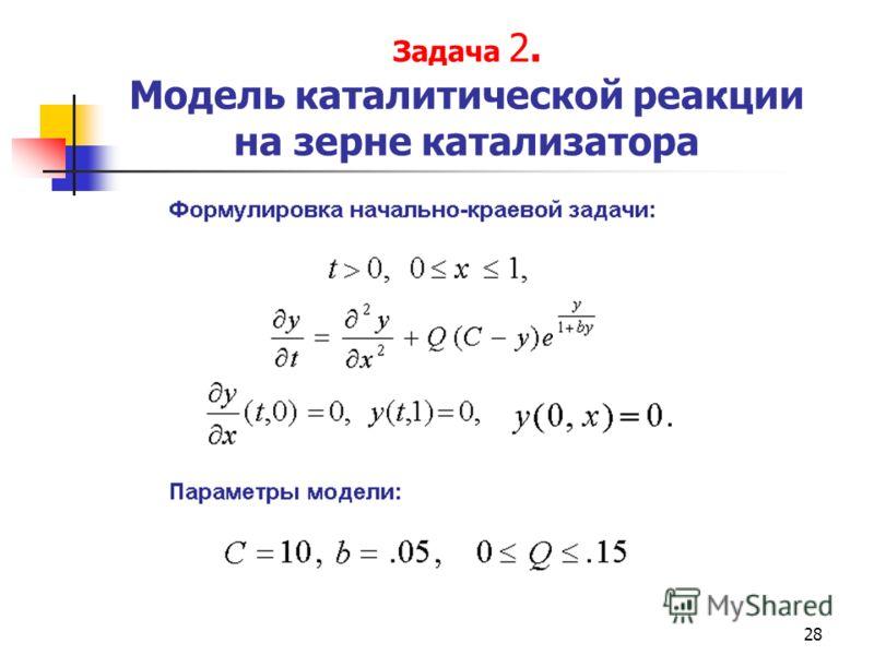 28 Задача 2. Модель каталитической реакции на зерне катализатора