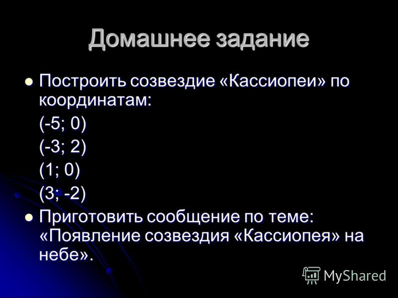 Домашнее задание Построить созвездие «Кассиопеи» по координатам: Построить созвездие «Кассиопеи» по координатам: (-5; 0) (-3; 2) (1; 0) (3; -2) Приготовить сообщение по теме: «Появление созвездия «Кассиопея» на небе». Приготовить сообщение по теме: «