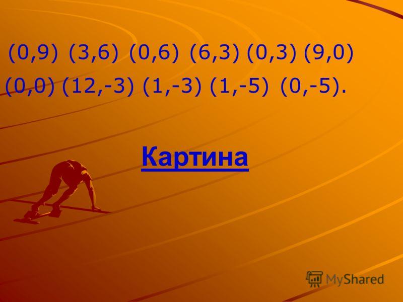 (0,9)(3,6)(0,6)(6,3)(0,3)(9,0) (0,0)(12,-3)(1,-3)(1,-5)(0,-5). Картина