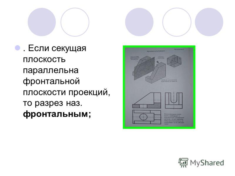 . Если секущая плоскость параллельна фронтальной плоскости проекций, то разрез наз. фронтальным;