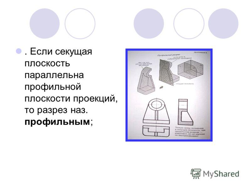 . Если секущая плоскость параллельна профильной плоскости проекций, то разрез наз. профильным;