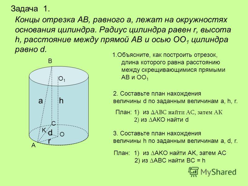 Концы отрезка АВ, равного а, лежат на окружностях основания цилиндра. Радиус цилиндра равен r, высота h, расстояние между прямой АВ и осью ОО 1 цилиндра равно d. 1.Объясните, как построить отрезок, длина которого равна расстоянию между скрещивающимис