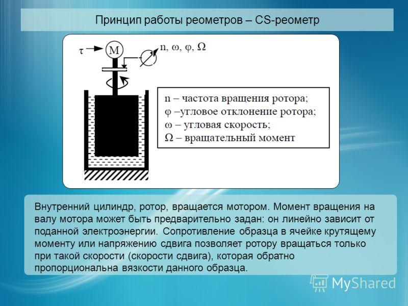Принцип работы реометров – CS-реометр Внутренний цилиндр, ротор, вращается мотором. Момент вращения на валу мотора может быть предварительно задан: он линейно зависит от поданной электроэнергии. Сопротивление образца в ячейке крутящему моменту или на