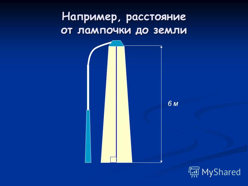 Например, расстояние от лампочки до земли 6 м