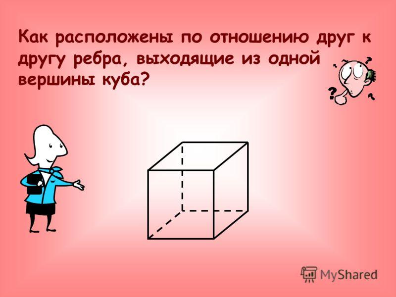 Как расположены по отношению друг к другу ребра, выходящие из одной вершины куба?
