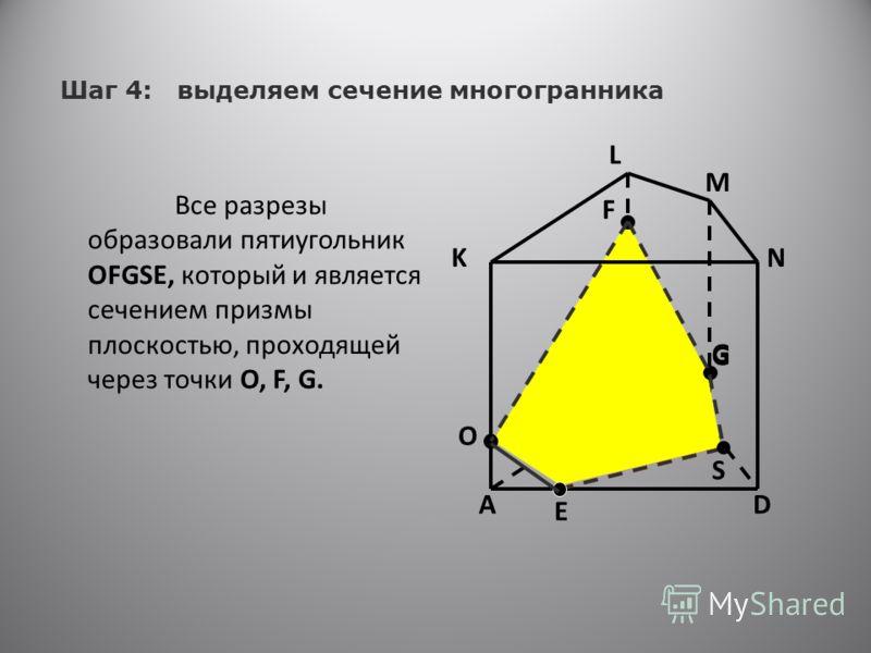 C B ES AD K L M N F G Шаг 4: выделяем сечение многогранника Все разрезы образовали пятиугольник OFGSE, который и является сечением призмы плоскостью, проходящей через точки O, F, G. O G