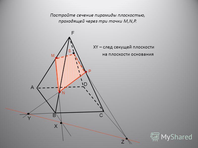 XY – след секущей плоскости на плоскости основания D CB Z Y X M N P S Постройте сечение пирамиды плоскостью, проходящей через три точки M,N,P. А F
