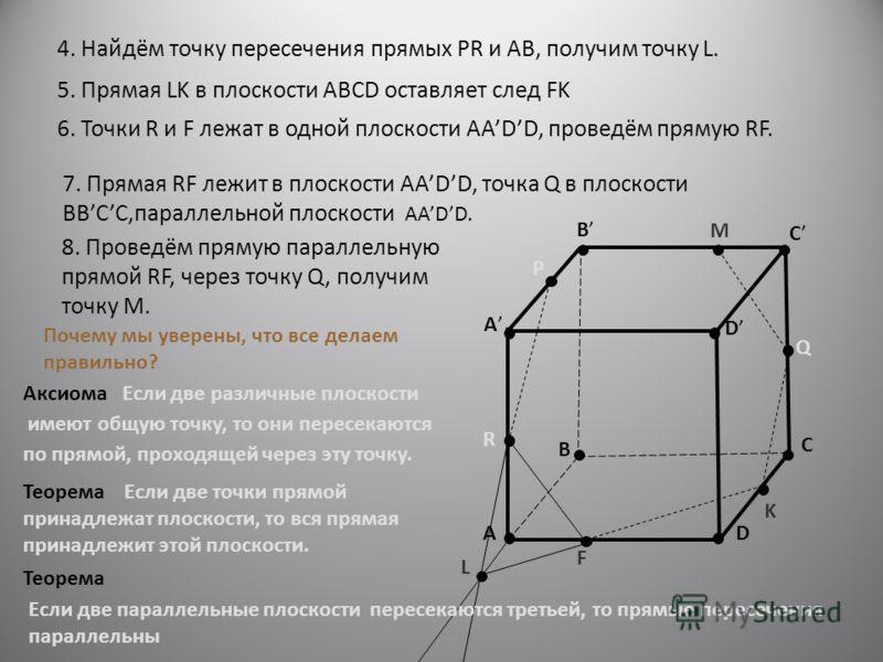 A B C D A B C D R P Q 4. Найдём точку пересечения прямых PR и AB, получим точку L. K L 5. Прямая LK в плоскости ABCD оставляет след FK F 6. Точки R и F лежат в одной плоскости AADD, проведём прямую RF. M 7. Прямая RF лежит в плоскости АADD, точка Q в