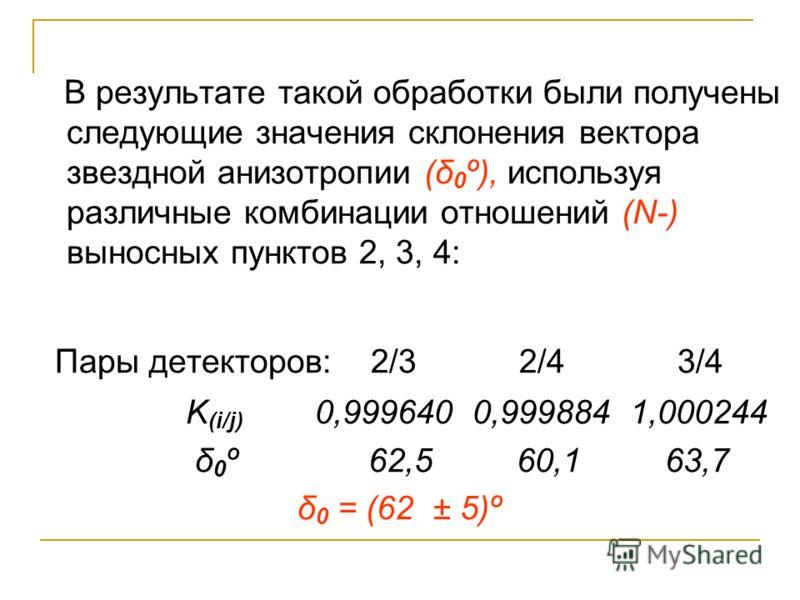 В результате такой обработки были получены следующие значения склонения вектора звездной анизотропии (δ 0 º), используя различные комбинации отношений (N-) выносных пунктов 2, 3, 4: Пары детекторов: 2/3 2/4 3/4 K (i/j) 0,999640 0,999884 1,000244 δ 0