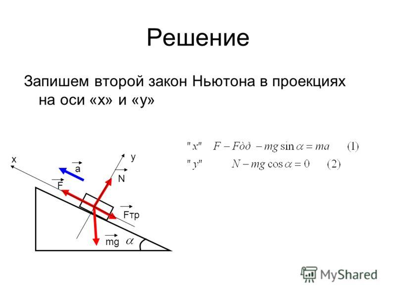 Решение Запишем второй закон Ньютона в проекциях на оси «x» и «y» a F Fтр mg N x y